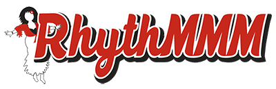red logo with the word Rhythmmm showing a dancing girl
