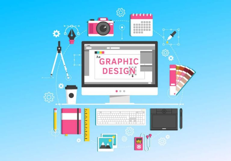 Vector image showing imac and tools with the words graphic design