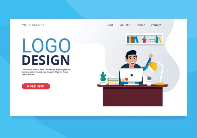 Vector image showing man at desk with words Logo Design