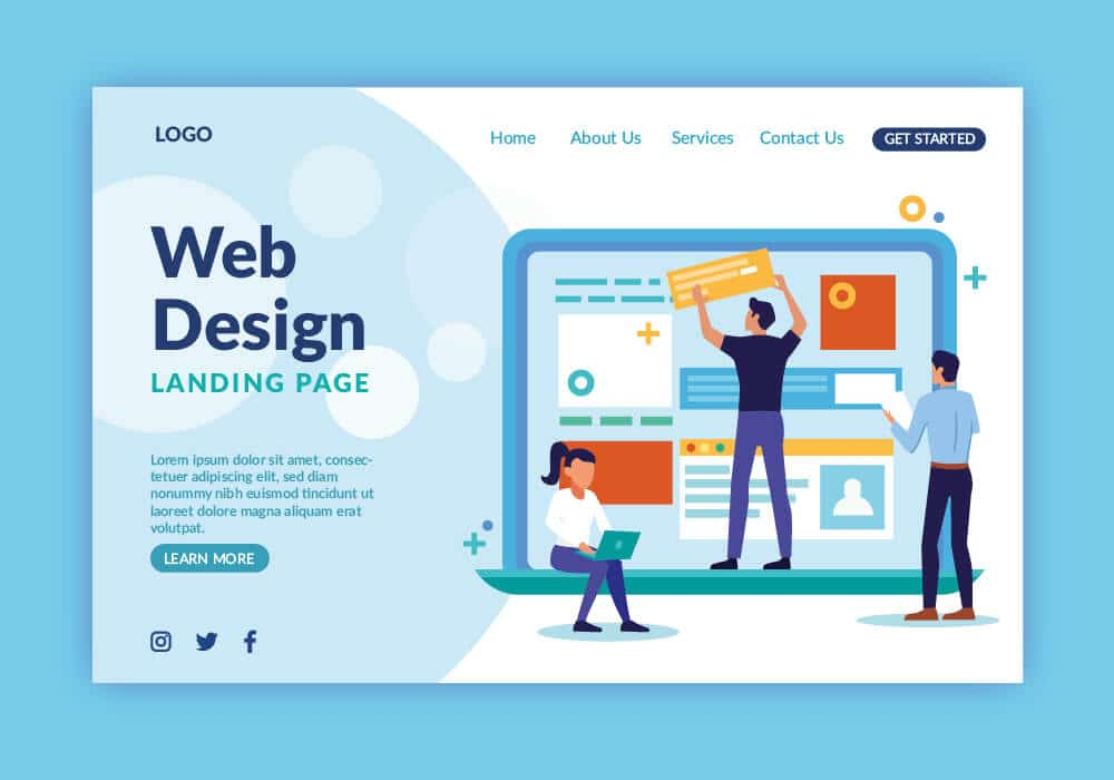 Vector image showing 3 people and the words 'web design landing page'
