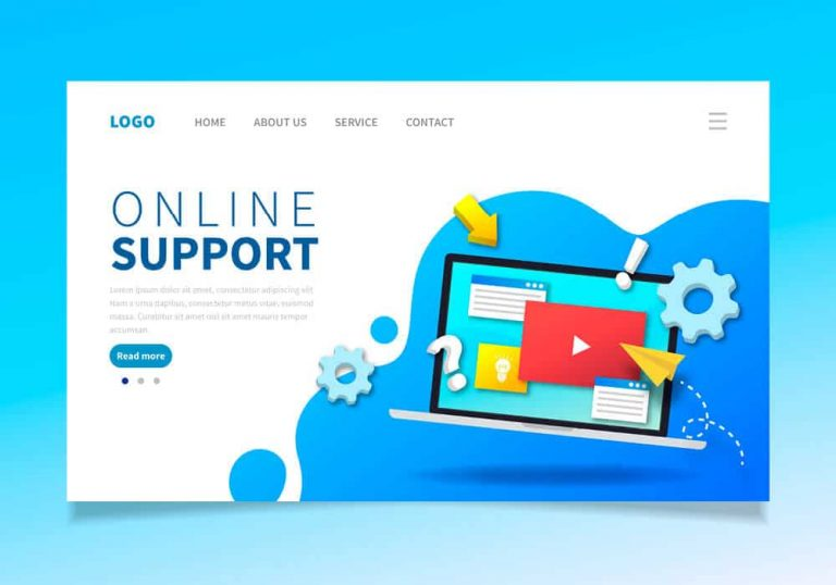 Vetor image with the words 'online support' and a laptop