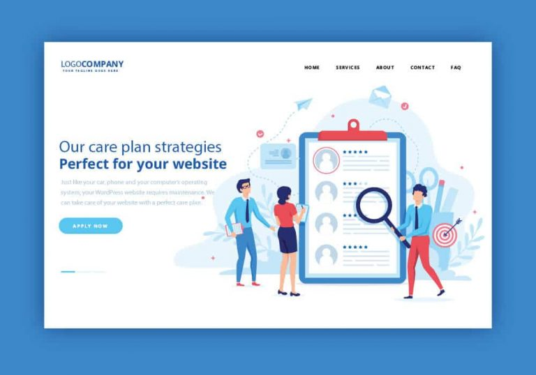 Vector image with people and the words 'our care plan strategies'